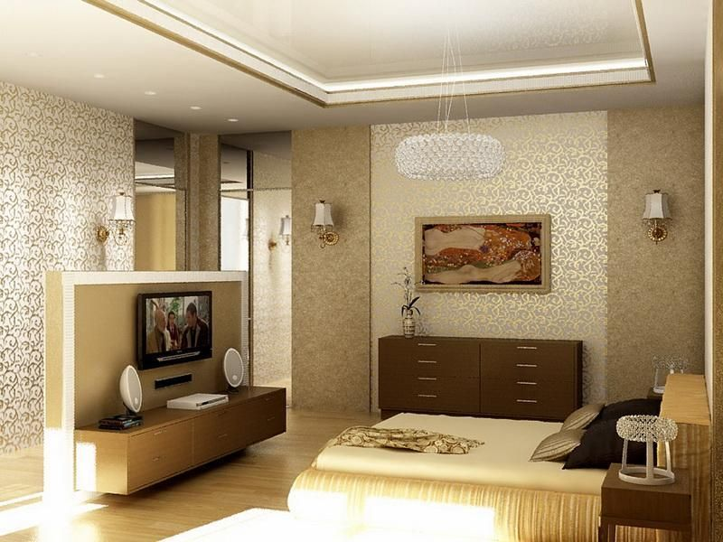 Bedroom The Great Design Of Wall Color For Small Bedroom With Brown Tile Wall Also Brown0bed With Brown Quilt Also The White Roof And White Circle Pendant Lamp