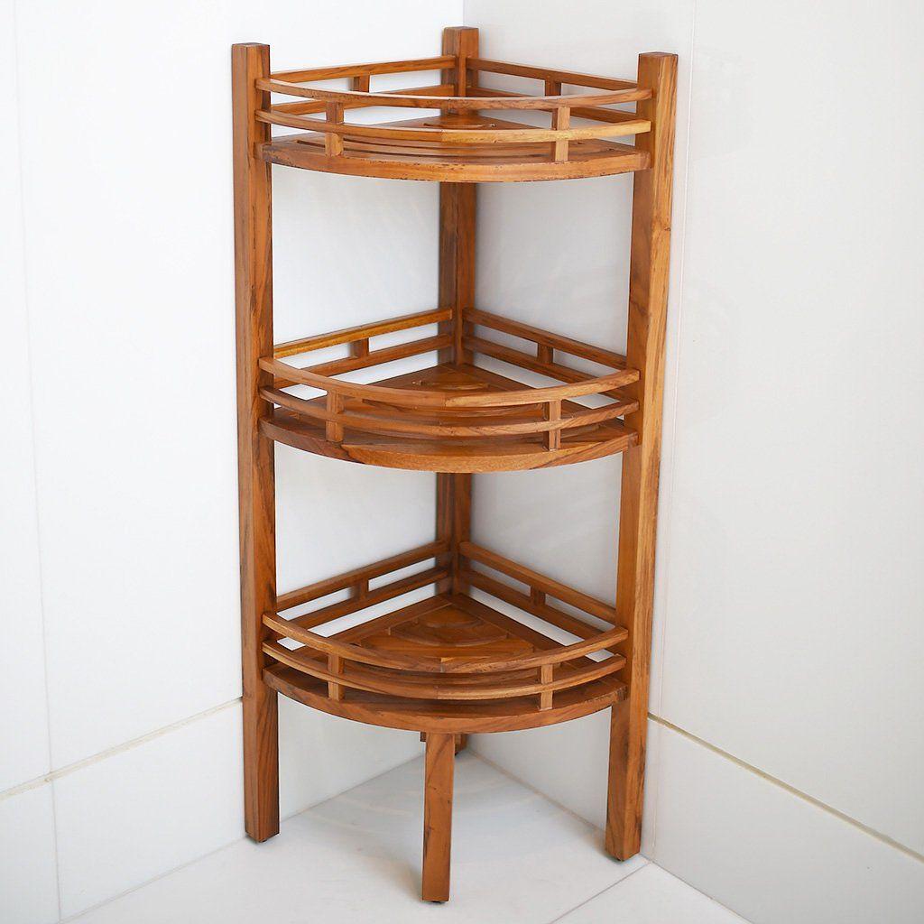 Dussi Solid Teak Wood Freestanding 3 Tier Corner Bathroom Storage