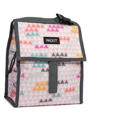 Packit Freezable Lunch Bag Pink Triangles Sack Lunch
