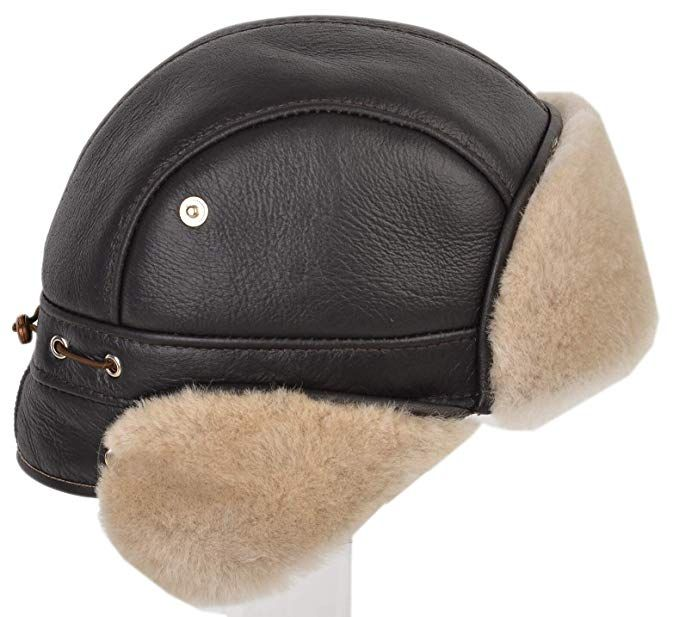 CIAO VESTITI Shearling Sheepskin Ushanka Earflap Chin Strap with Snap Hat  for Winter a2aab431051