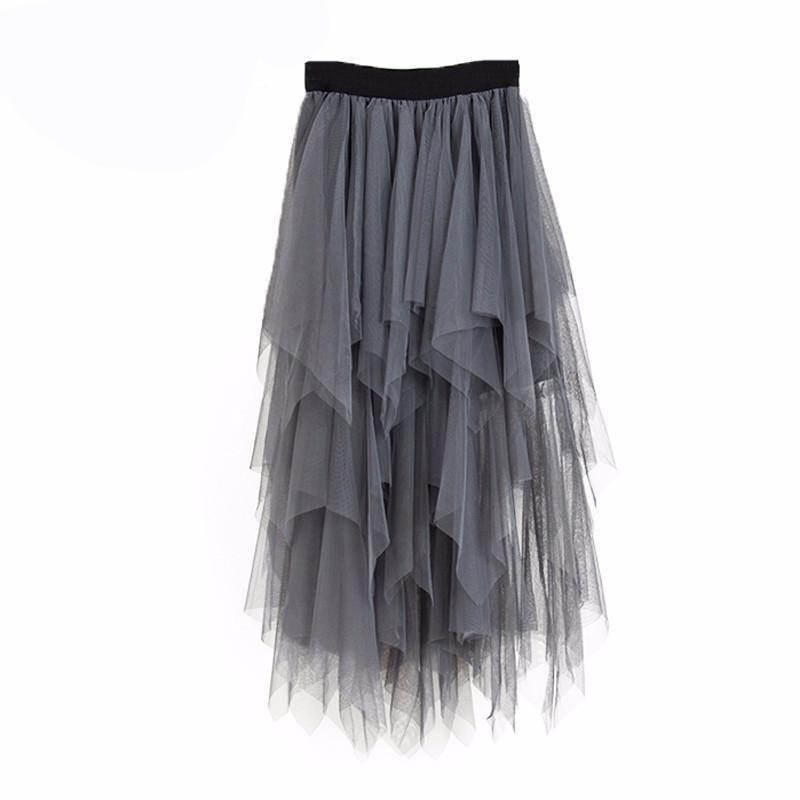 Women Elastic Irregular High Waist Mesh Tutu Skirt White Black Gray Long Skirts