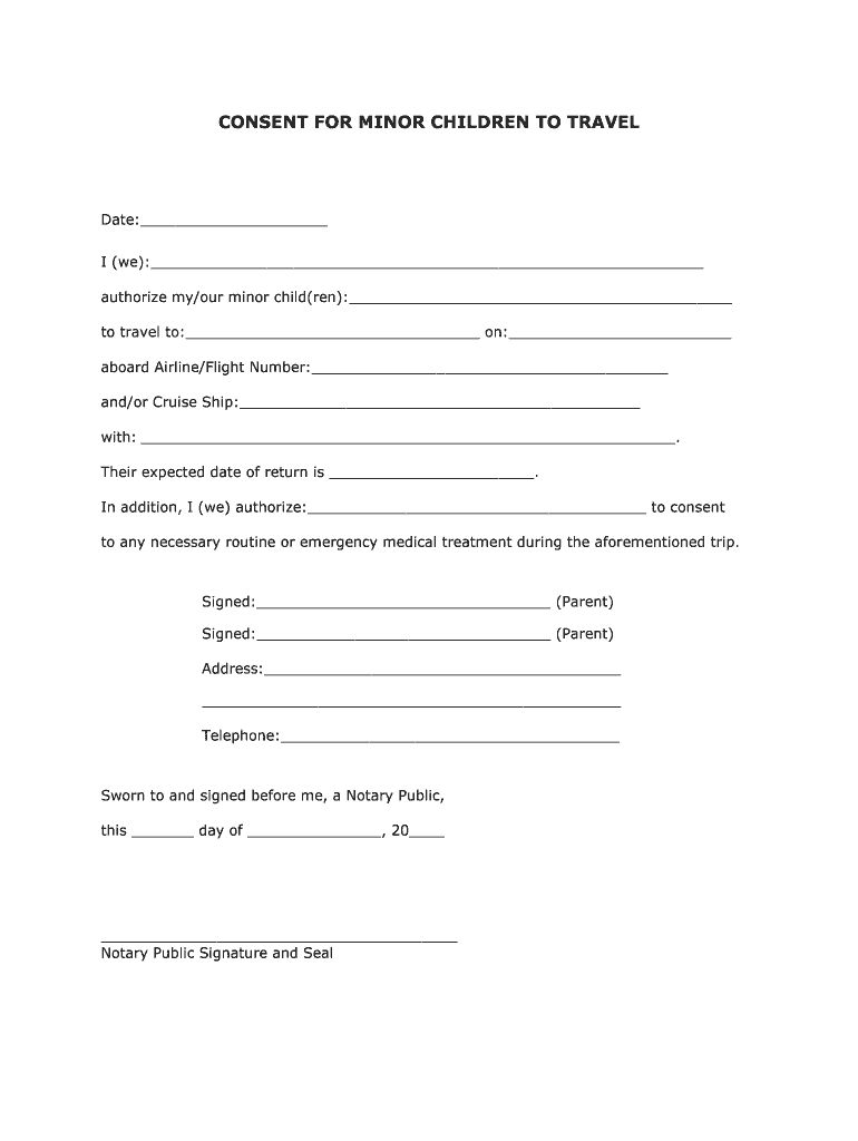 Free Consent Child Form Fill Online Printable Fillable Blank With Notarized Letter Template For Ch Travel Consent Form Child Travel Consent Form Consent Letter