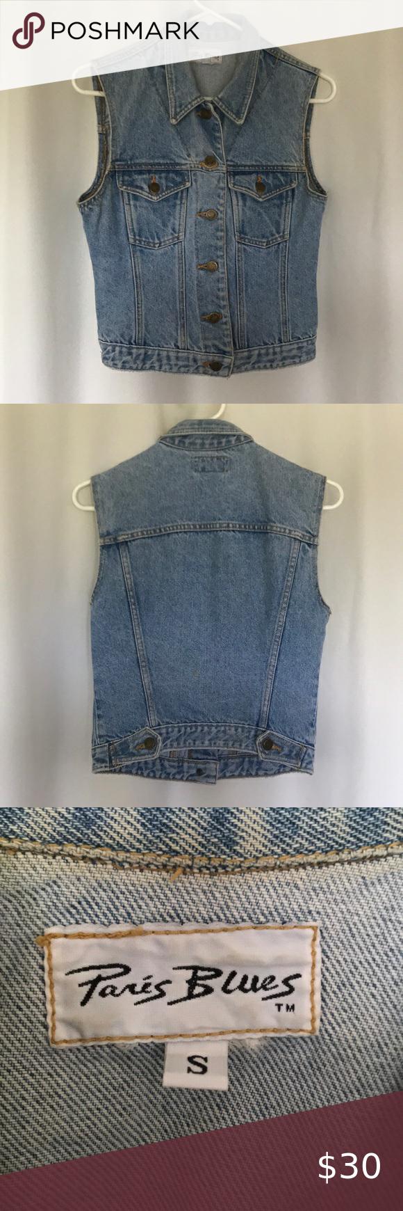 Paris Blues Denim Sleeveless Vest Very 90s Vintage Jean Button Up Sleeveless Vest Size Small In Great Used Conditi Sleeveless Vest Blue Denim Blue Outerwear [ 1740 x 580 Pixel ]