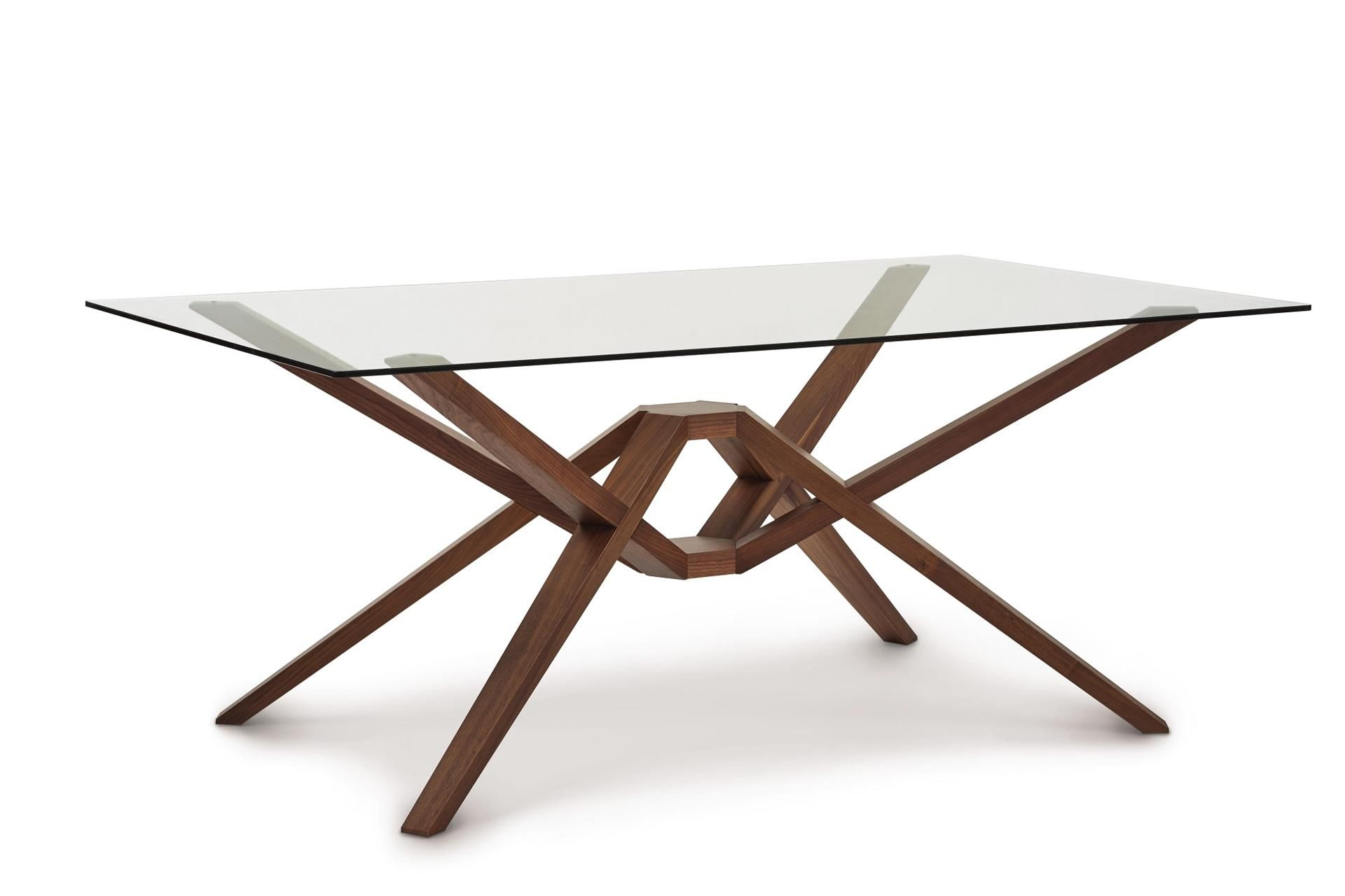 Exeter dining table with glass top by copeland furniture