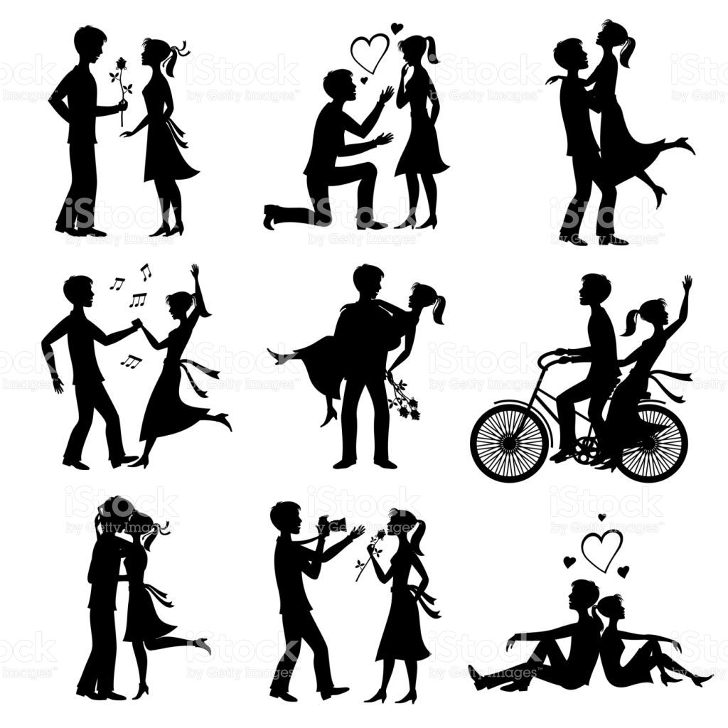 Happy couples in love just married bride and groom vector black ...