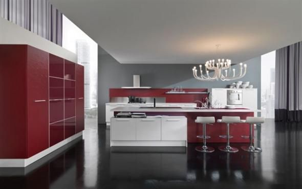 Red And White Modern Classy Kitchen Design With Beautiful White Chandelier    Ego By Vitali Cucine