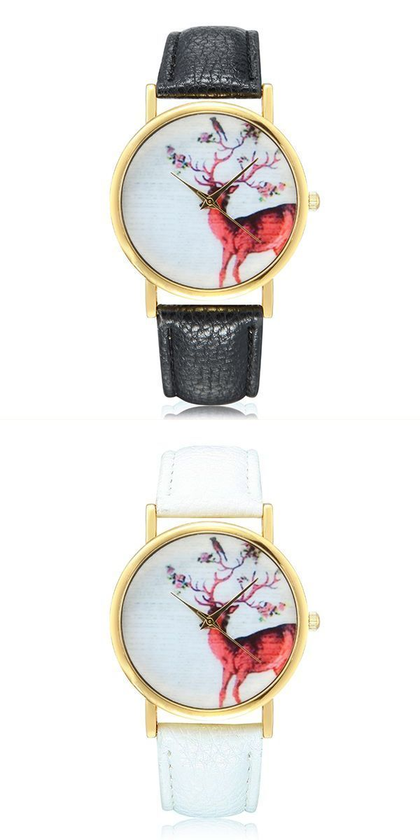 Cute Tomboy Style Tumblr Fashion Deer Pattern Gold Color Case Pu Leather Band Analog Quartz Women Wrist Watch Hairstyle Ideas