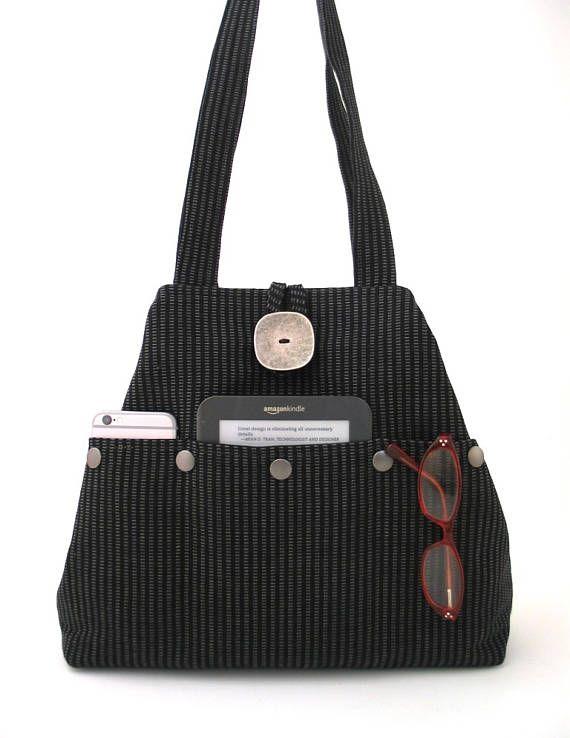 black handbag black tote bag fabric tote bag black purse