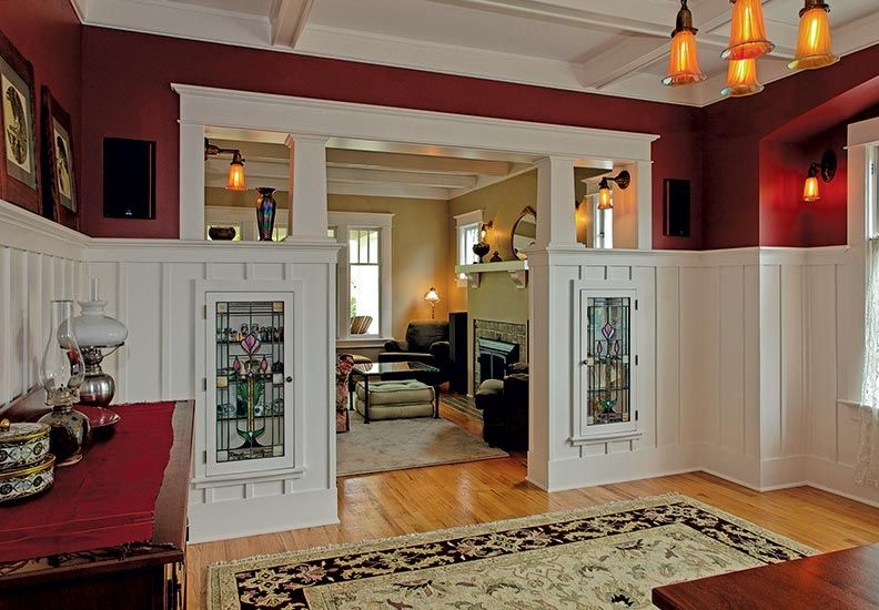 A Thoughtful Bungalow Restoration Craftsman Dining Room Bungalow Interiors Built In Furniture