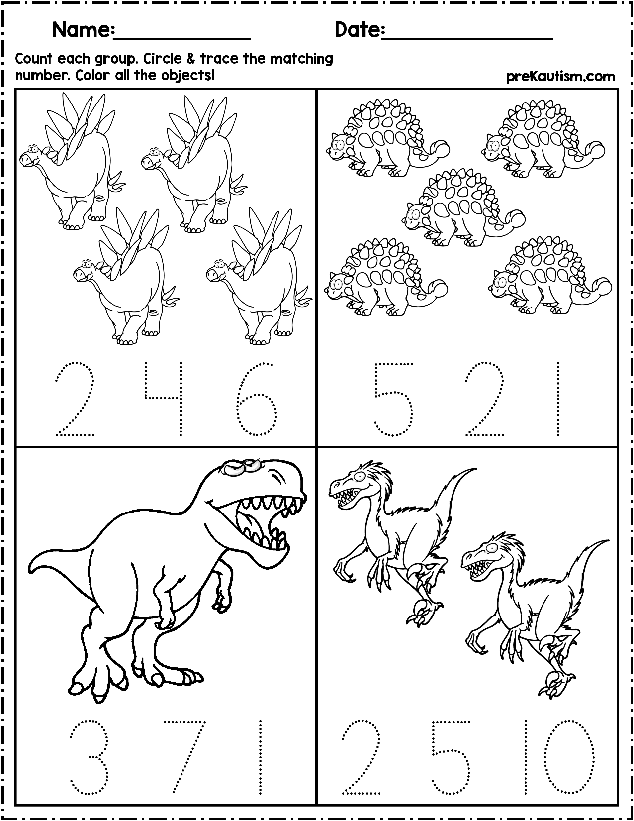 Dinosaur Counting Worksheet Preschool