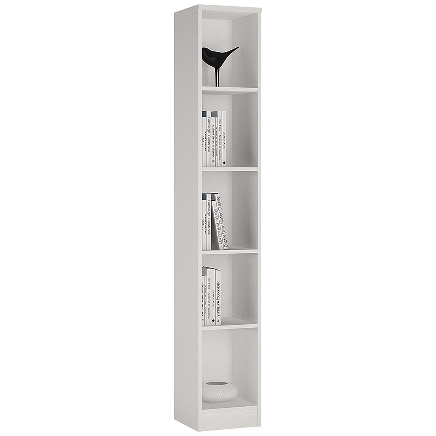 P N Homewares Crescita Tall Narrow Bookcase In White Bookshelf Living Room Furniture 30cm Wide Amazon Co Tall Narrow Bookcase Bookcase Narrow Bookshelf