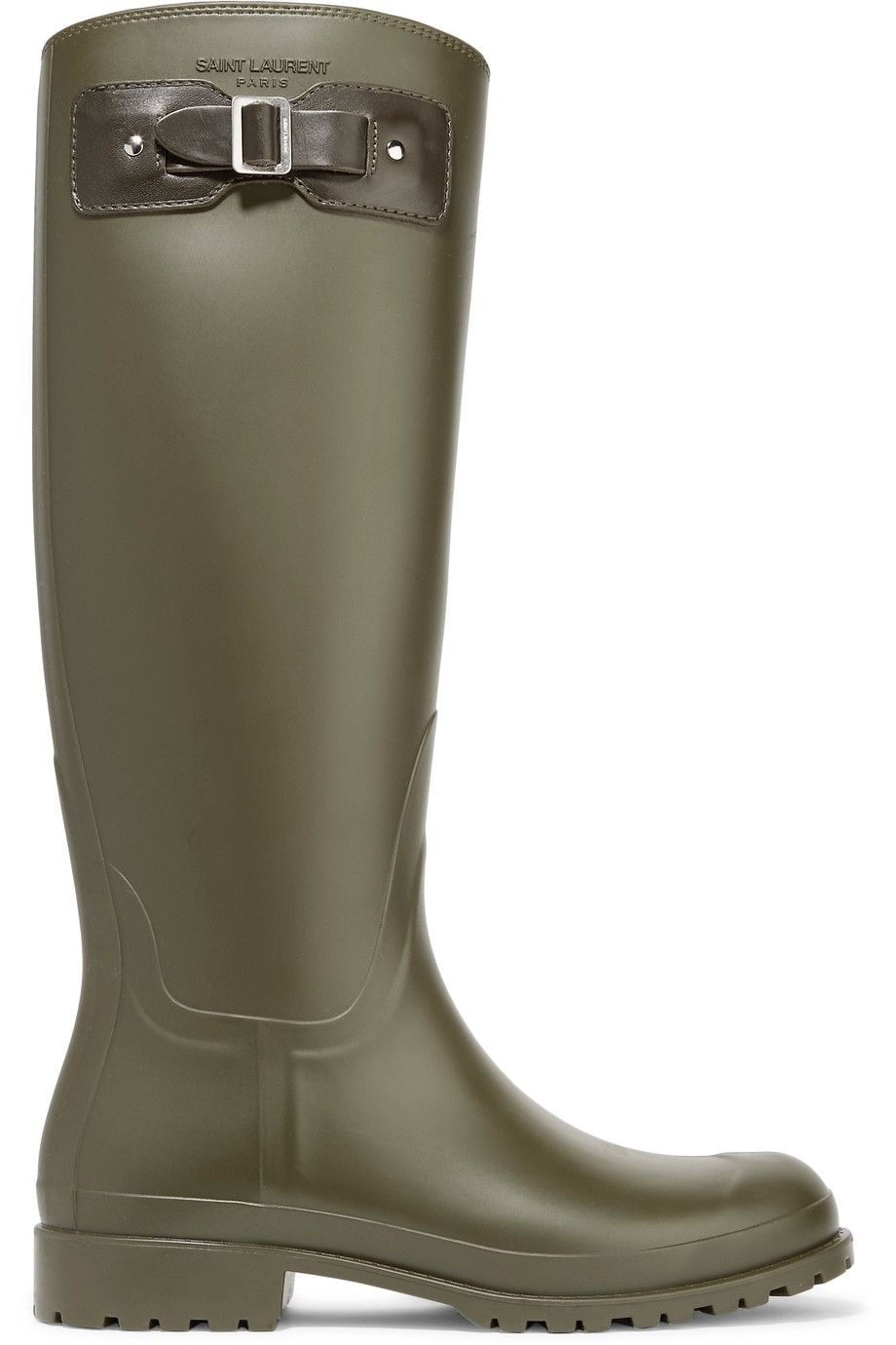 b255c40db0d SAINT LAURENT Festival 25 leather-trimmed rubber rain boots.  saintlaurent   shoes  . Find this Pin and more ...