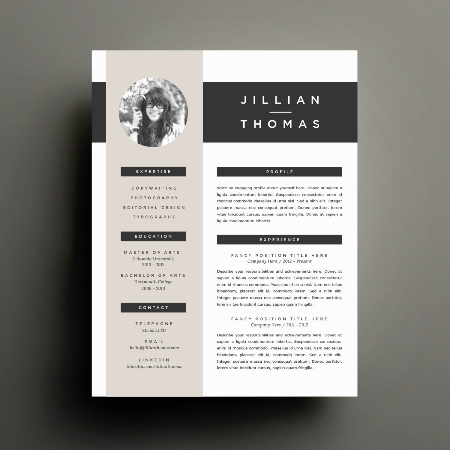 Diy Resume Template Creative Resume Template And Cover Letter Template For