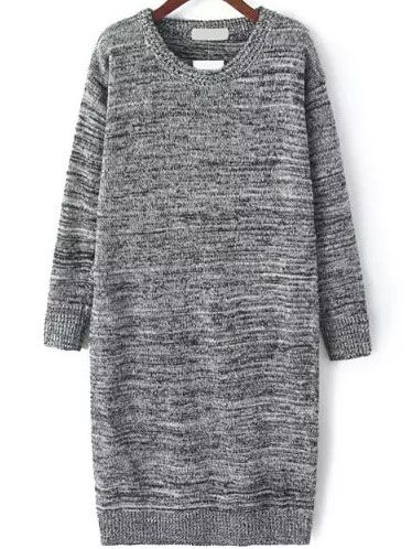 Long Sleeve Straight Grey Sweater Dress