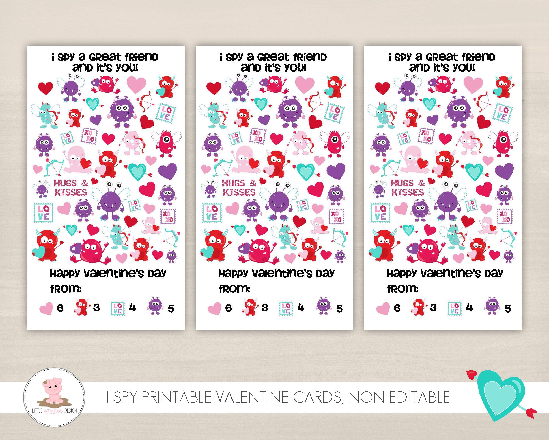 Printable Valentines For Kids I Spy Valentines Monster