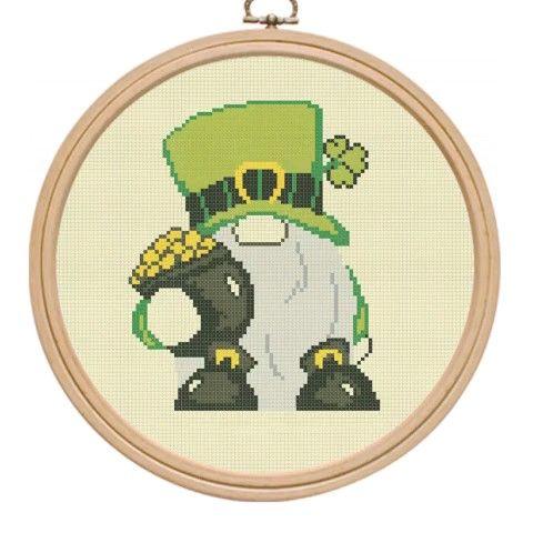 Photo of Cross stitch pattern pdf, gnome cross stitch, Patricks day cross stitch, modern cross stitch.