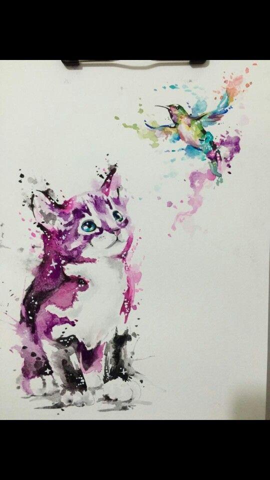 Kitten And Bird Hummingbird Drawing Watercolor Cat Drawings