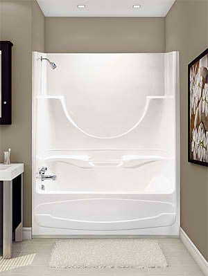 Decorate Around A Fiberglass Tub Shower Combo Enclosure Google Search White Cabinet Like The Coutnter One Piece Tub Shower Shower Tub Tub Shower Combo