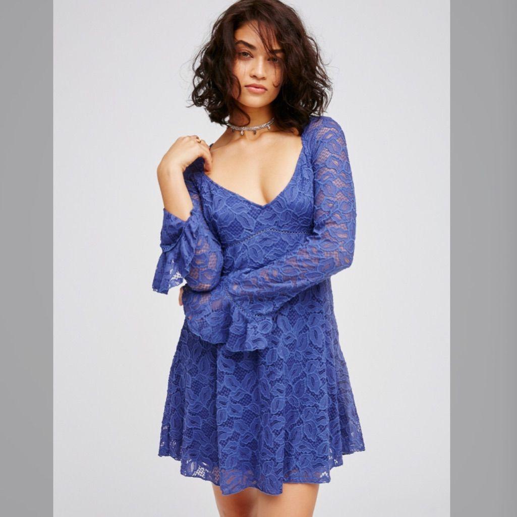 Free People Blue Skies Babydoll Dress In 2021 Free People Dress Bodycon Mini Dress Lace Blue Dress [ 1025 x 1025 Pixel ]