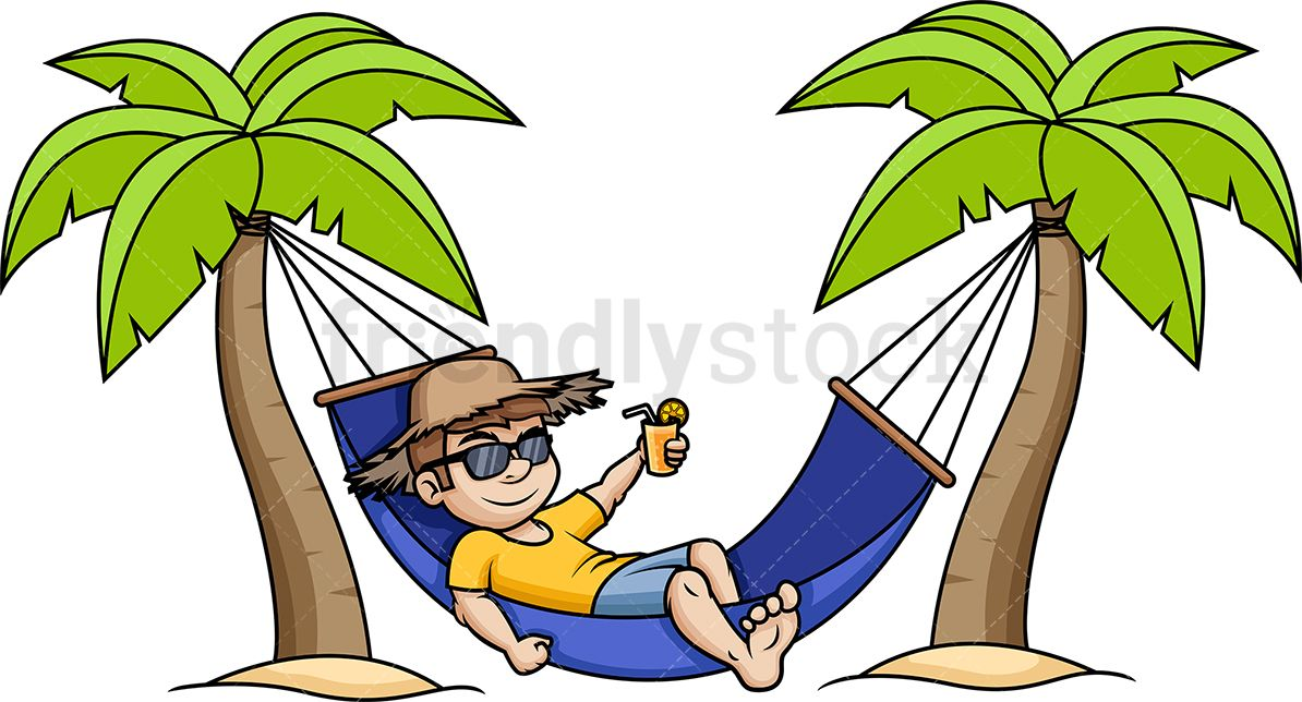 Man Relaxing In Hammock Cartoon Vector Clipart Friendlystock Tropical Illustration Beach Illustration Vector Illustration