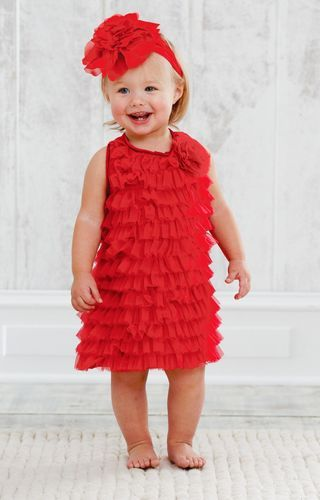 c3a34a7e7 Mud Pie Holiday Christmas Eve Baby Girl Red Chiffon Dress Various ...