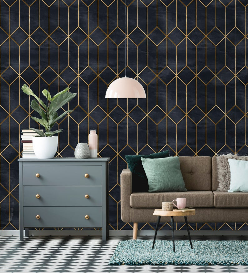 Removable Wallpaper | Peel and Stick Geometric Wallpaper | Self Adhesive Art Deco Wallpaper | Vintage Wallpaper #artdecointerior