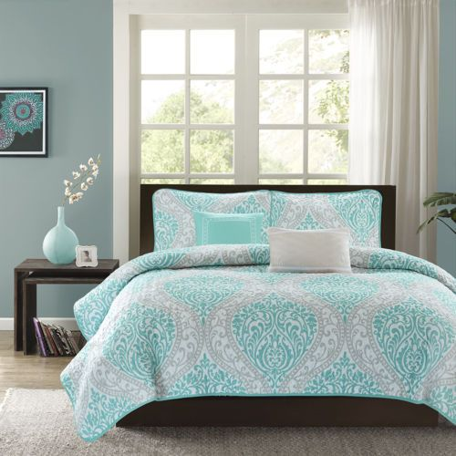 New Chic Blue Teal Aqua White Grey Beach Ocean Textured Quilt Set Pillows Grey Bedroom With Pop Of Color Comforter Sets Girl Comforters