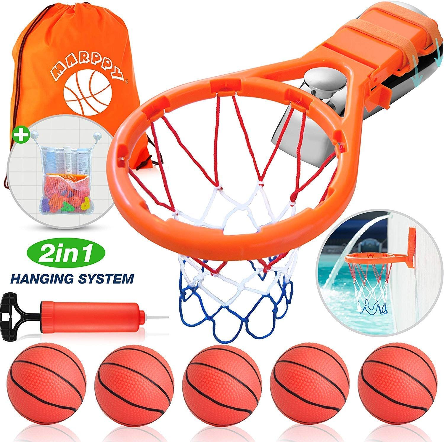 Bath Toy Basketball Hoop And 5 Balls Playset 2 In 1 Design Bathtub Basketball Hoop For Kids Bathroom Games And Fun Bath In 2020 Bath Toys Playset Kids Bathroom