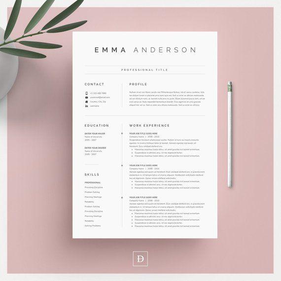 Clean Modern Resume Template 4 pages Modèle de CV - Lettre de couverture - Références pour MS Word et pour les Pages Mac Téléchargement numérique instantané