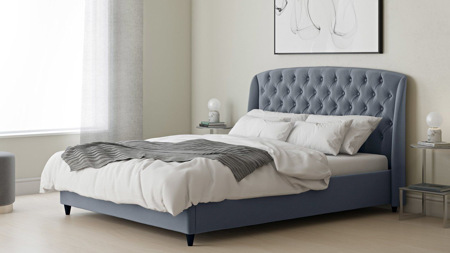 Phenomenal Manolo Pewter Velvet Double Bed With Storage Danetti Beatyapartments Chair Design Images Beatyapartmentscom