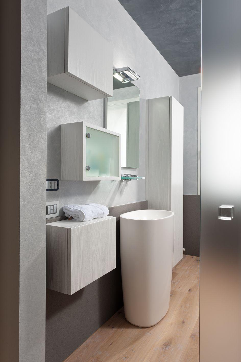 Lavabo A Colonna Design bagno imax. mobile bagno in legno laccato con pensili e