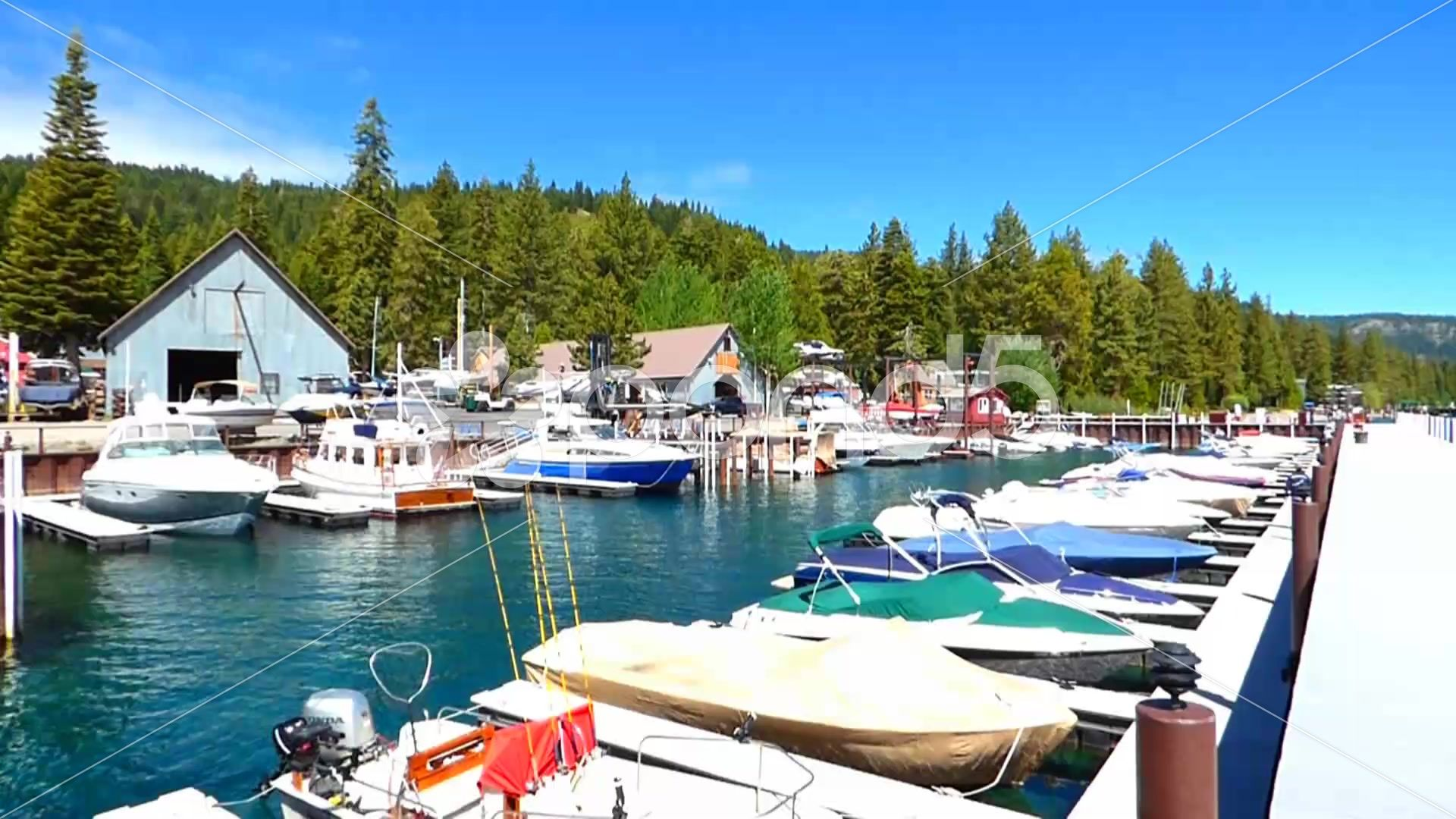 Boat Dock at Lake Tahoe Stock Footage by