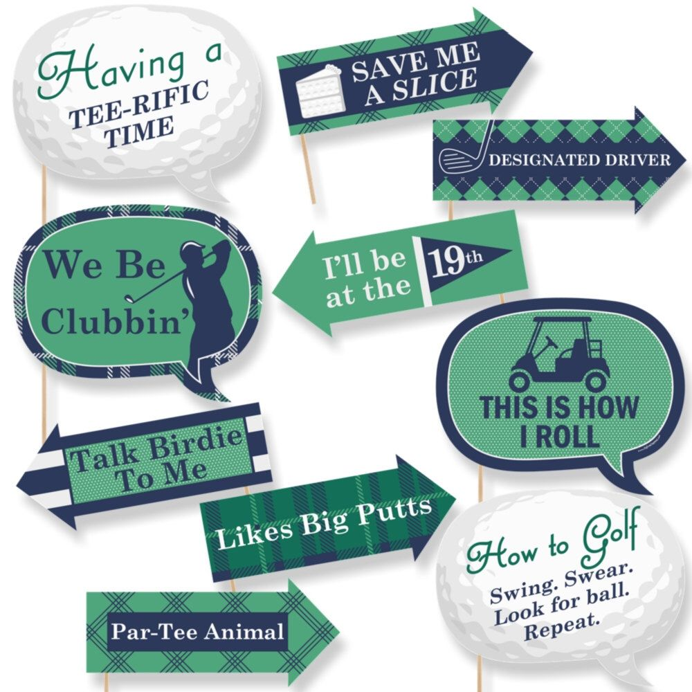 Funny Golf Photo Booth Props Par Tee Time Golf Photobooth Prop Kit Golf Party Props 10 Photo Props Dowels Golf Birthday Party Golf Party Golf Theme Party