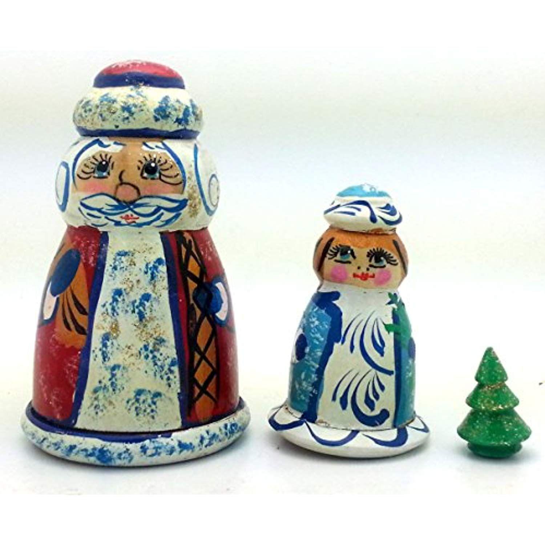 Santa Miss Claus Xmas tree nesting dolls Russian Hand