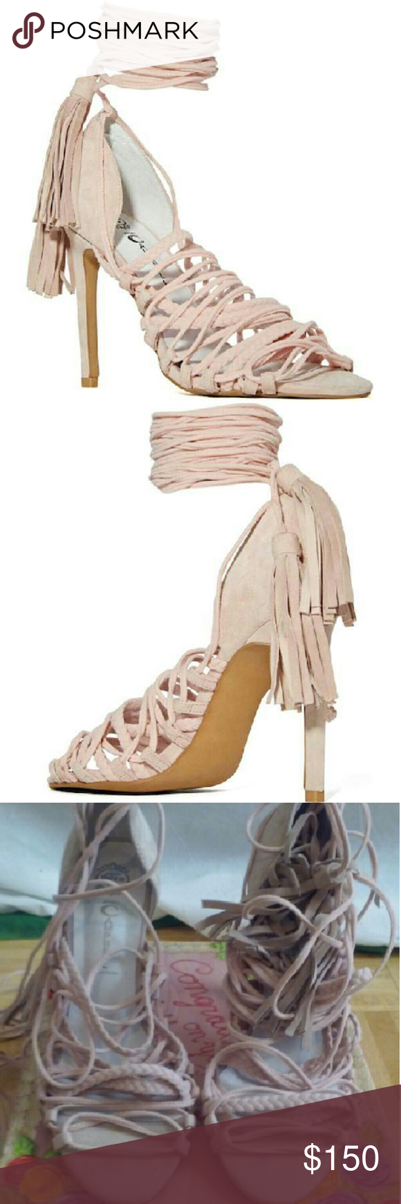 a9d1a443fb62 Jeffrey Campbell Sabra- Pink suede New  Size 9 Color- Pink Gladiator heeled  sandals
