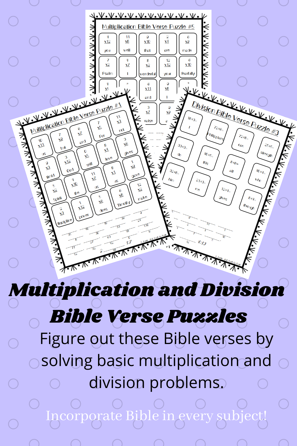 Basic Multiplication And Division Bible Verse Puzzles Bible Homeschool Multiplication And Division Christian Curriculum [ 1500 x 1000 Pixel ]