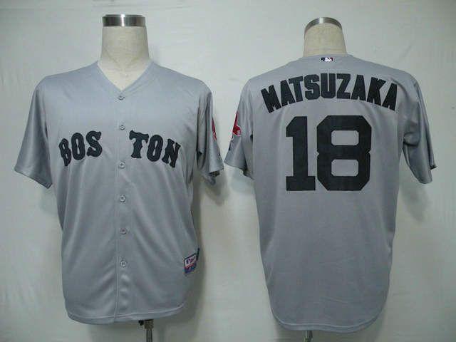 088089c87 Boston Red Sox Daisuke Matsuzaka Baseball Jersey Grey 18 Baseball ...