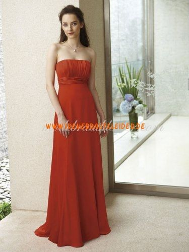 Imperium Strapless Sweep Zug Satin & Chiffon Kleid Brautjungfer ...