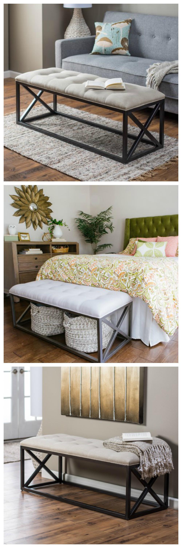 Belham Living Grayson Tufted Entryway Bench Inexpensive Home Decor Bedroom Decor Apartment Decor