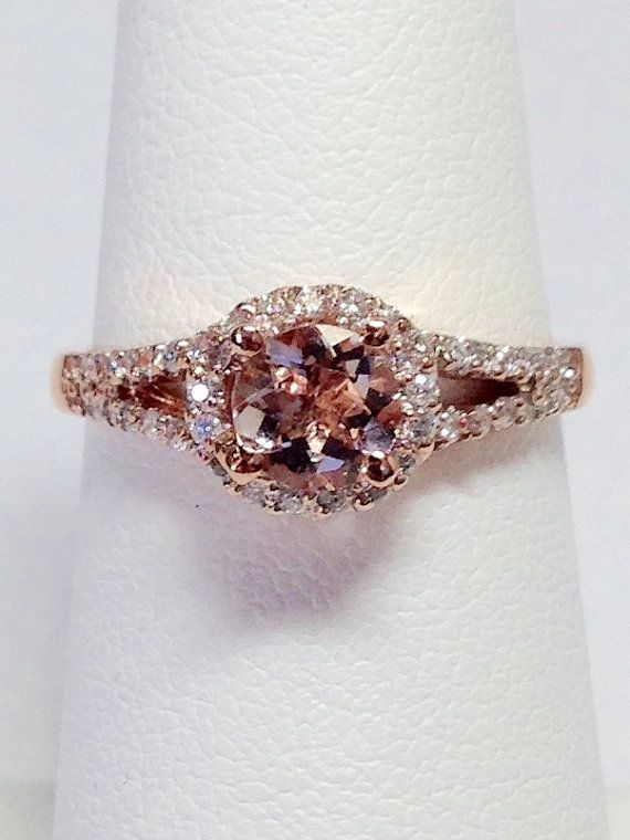 Morganite Color Stone Ring Round Halo Crisscross by FineJewlers