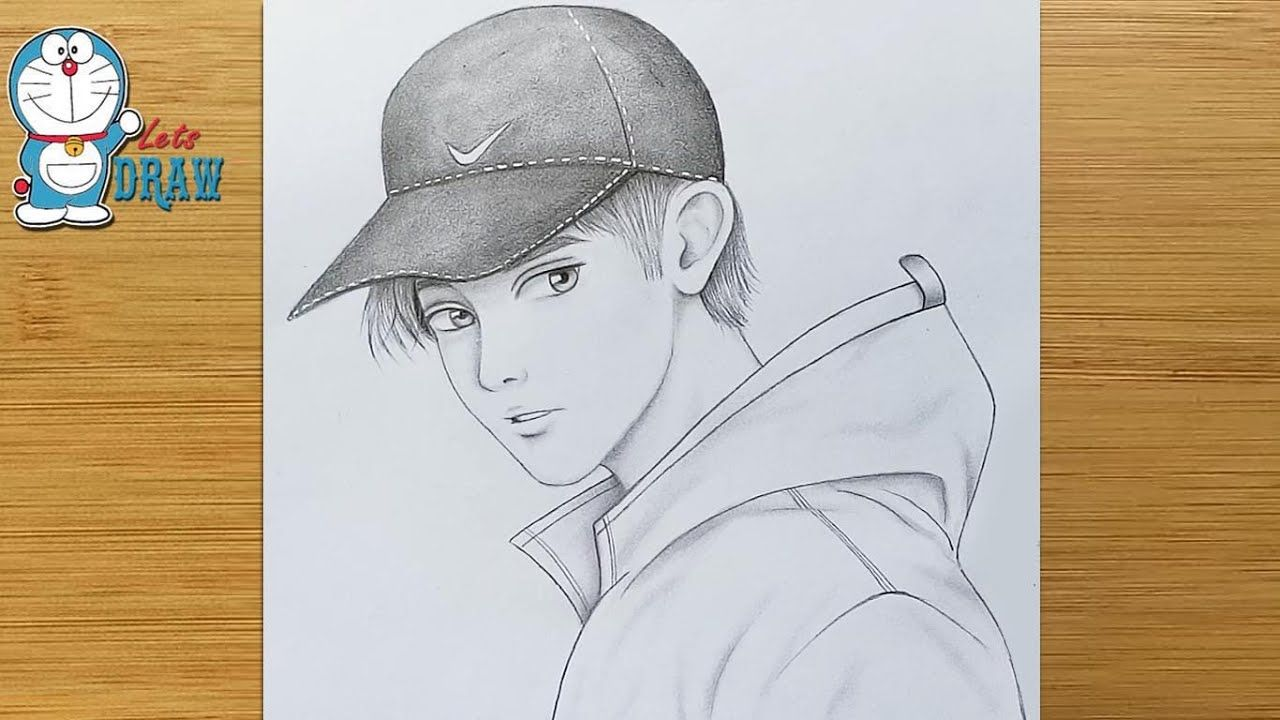 How to draw a boy with Cap for beginners    pencil sketch ...