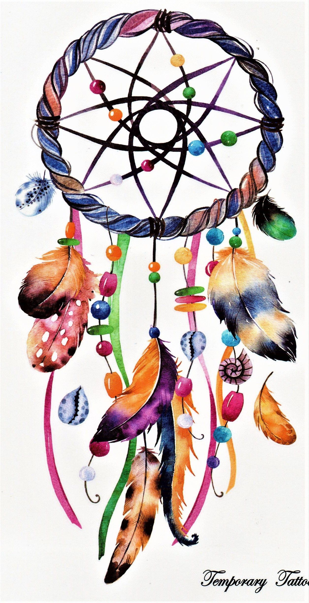 dreamcatcher feather luck colorful temporary tattoo fake