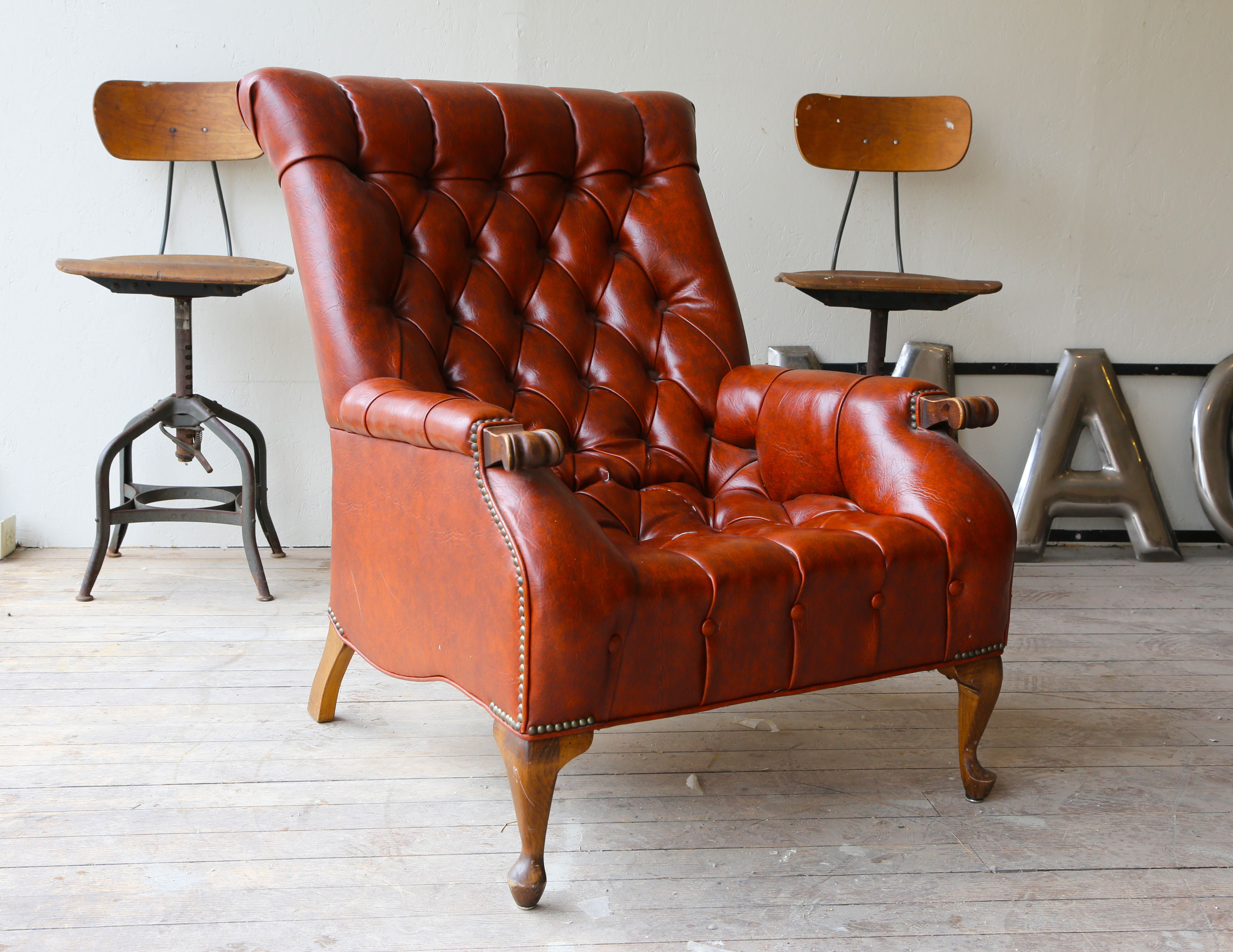 Beautiful 1950's Sleepy Hollow Leather Chair For Sale Now