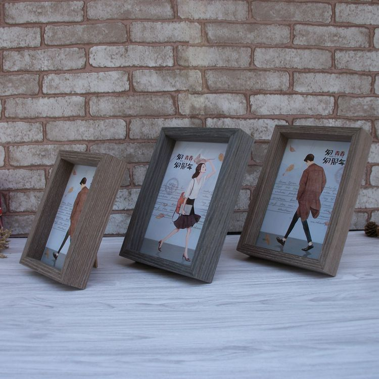 hot vintage photo frame souvenir birthday gifts square wood frame wooden crafts desk decor pictures frames - Wood Frames Cheap