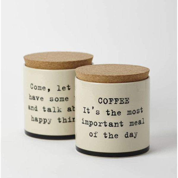 Room 356 Coffee And Tea Canisters £45 ❤ liked on Polyvore