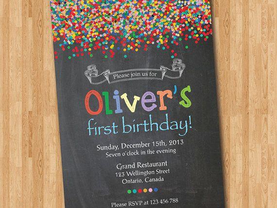 confetti birthday invitation bright colorful boy or girl birthday