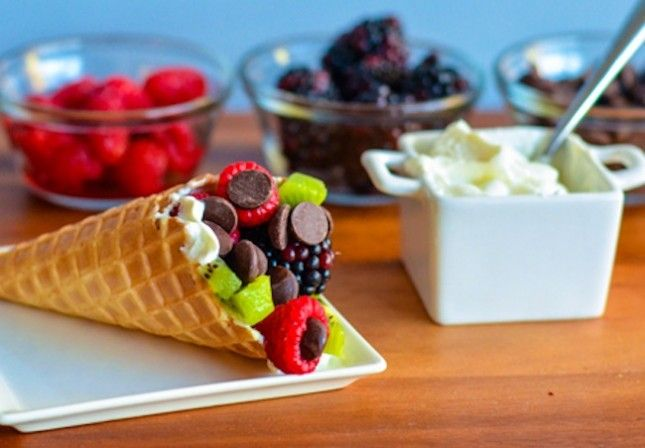 Fruits and yogurt in a cone, substitute to ice cream