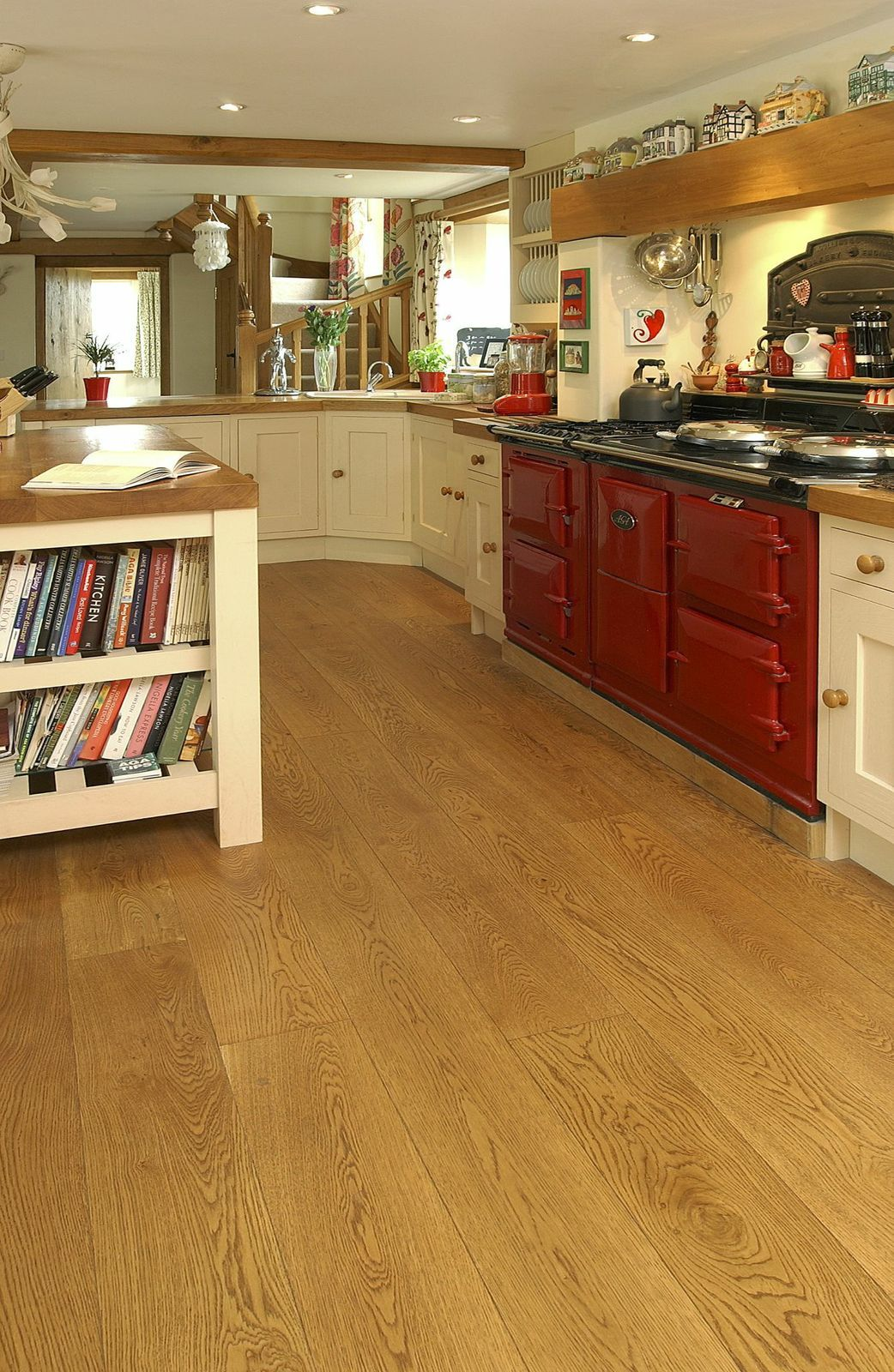 Cognac Preoiled Engineered Oak in the kitchen. Suitable