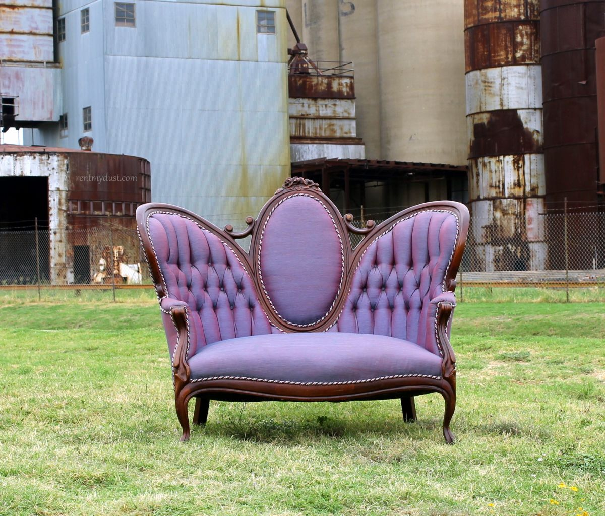 Our Ursula Purple tufted sofa is perfect for your vintage lounge area at  your dream wedding