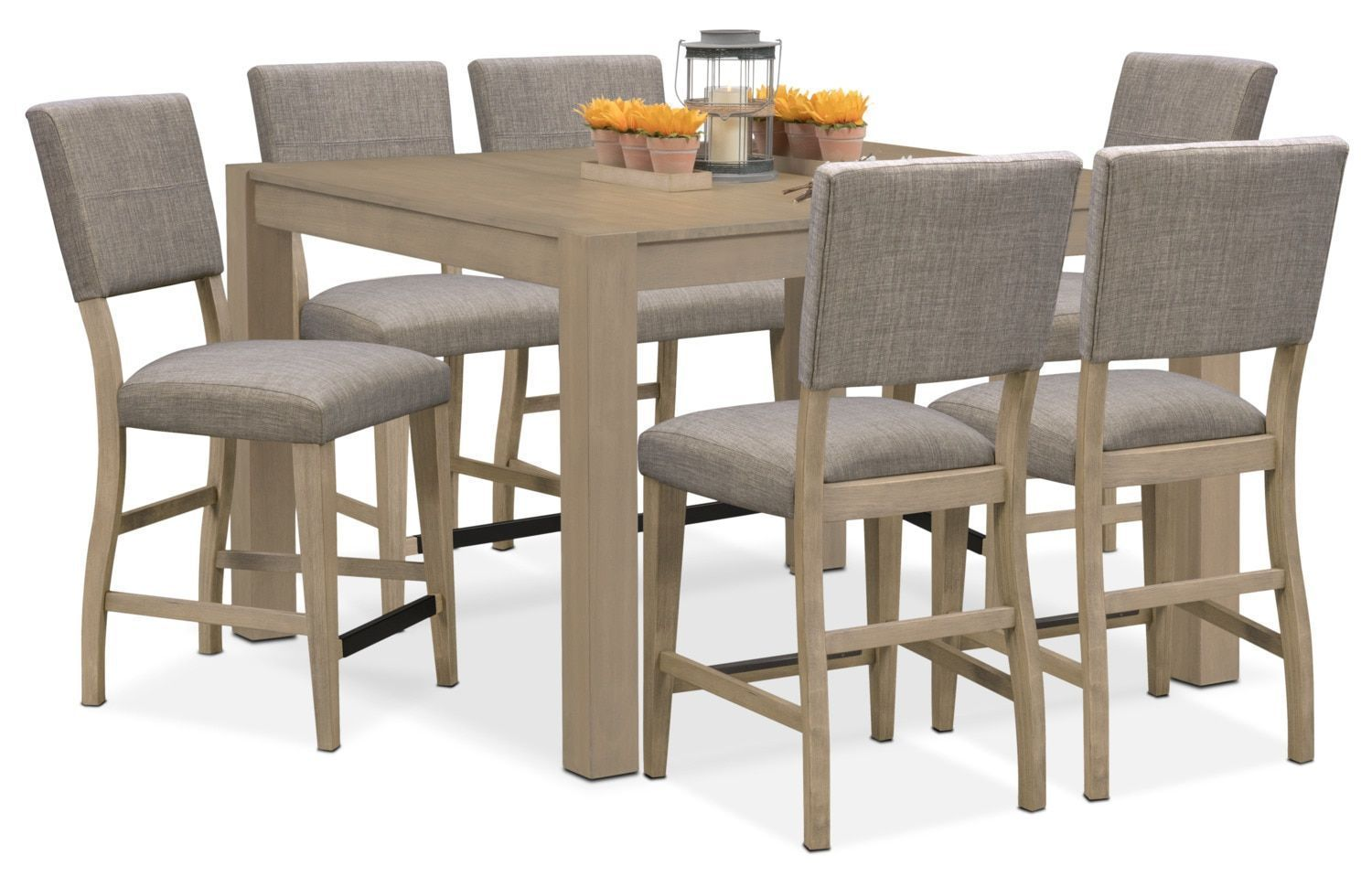 Tribeca counterheight table and upholstered side chairs gray